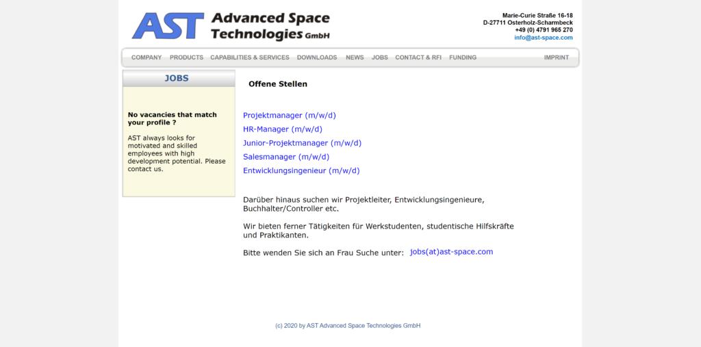 Jobs bei der AST Advanced Space Technologies GmbH