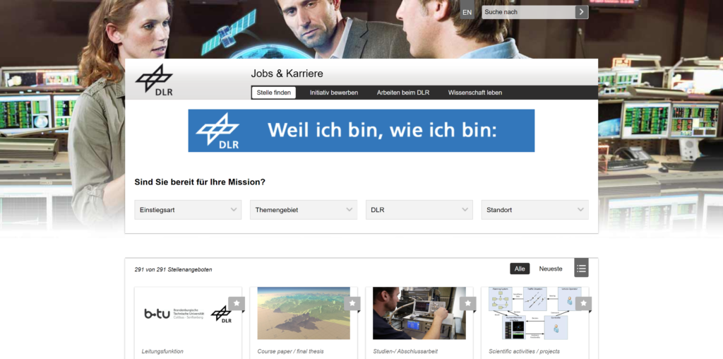 Jobs bei DLR Deutsches Zentrum für Luft- und Raumfahrt e.V